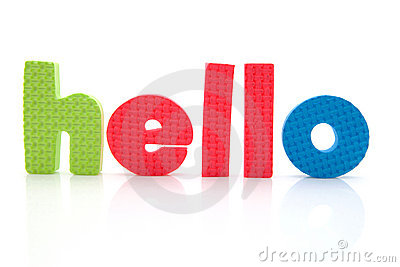 Word hello in foam letters