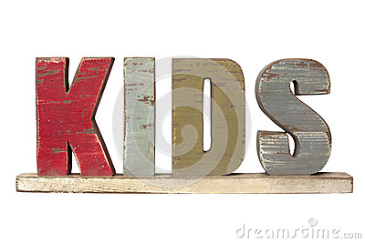 Word Kids Spelled in Wooden Letters