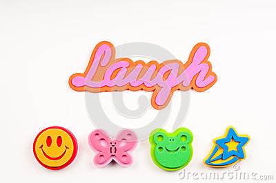 The word laugh with foam graphics