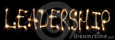 Word leadership written sparkler