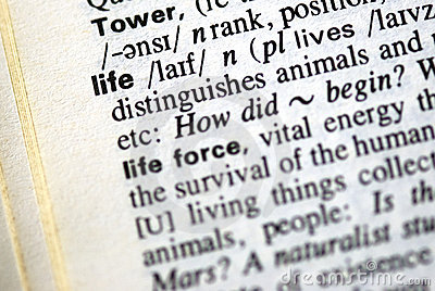 The word life in a dictionary