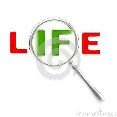Word life under the magnifier isolated