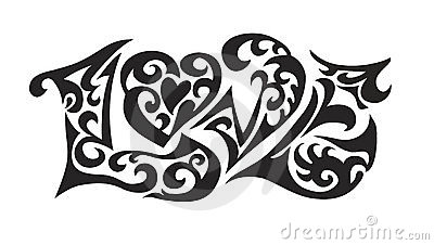 Word logo love tatoo Vector Illustration