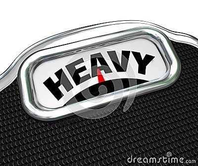 Word lourd sur le poids ou la masse de mesure d échelle