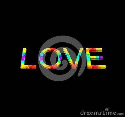 Word Love on black background