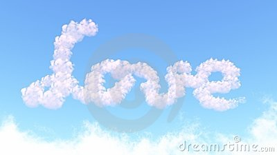 Word love from clouds