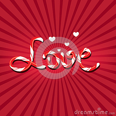Love written with candy cane letters