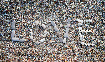 The Word Love On The Sand
