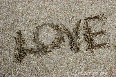 Word love on sand