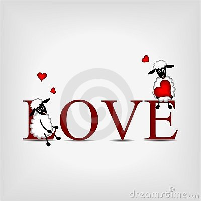 Word LOVE with two cute sheep and red heart