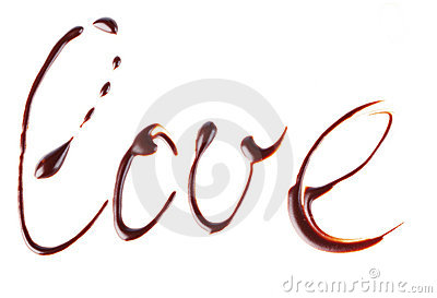 Word  love  written by chocolate