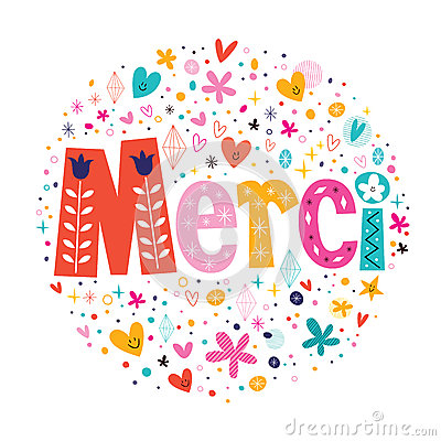 Word Merci Thanks in French typography lettering decorative text card