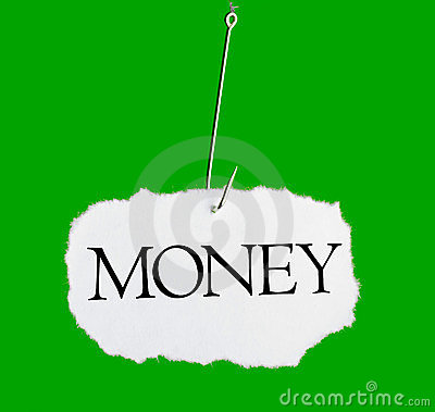 Word MONEY on a fishing hook