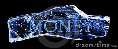 Word MONEY frozen in the ice