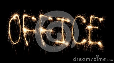 Word Office Written Sparkler Stock Photos - Image: 8668233
