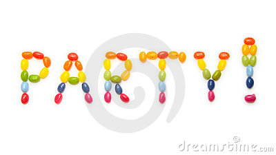 Word PARTY ! made of jelly beans sweets