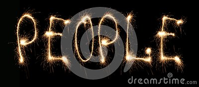 Word people written sparkler