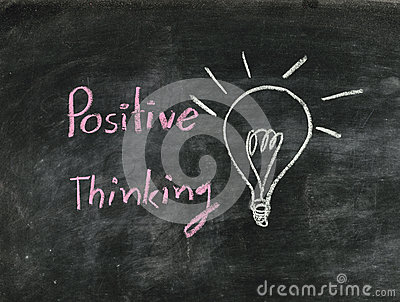 The word positive thinking and light bulb