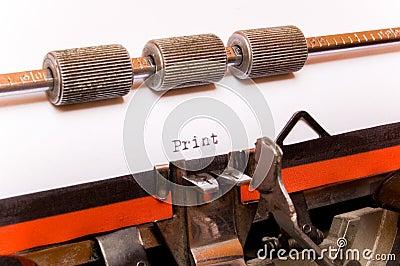 Word print on typewriter paper