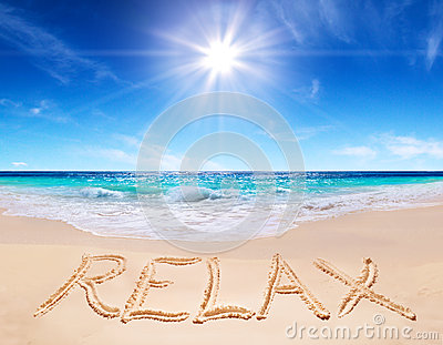 Word relax on the tropical beach