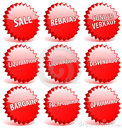 Word sale in different languages.