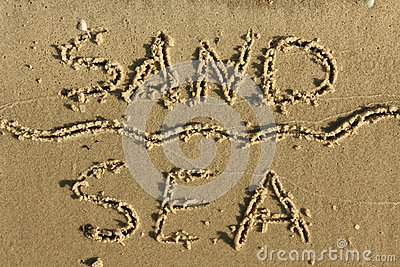 Word of sand, sea written on the sand