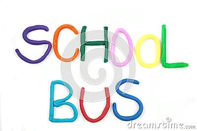 The word SCHOOL BUS