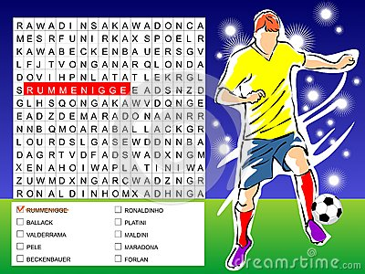 Word search game - find the nine players soccer