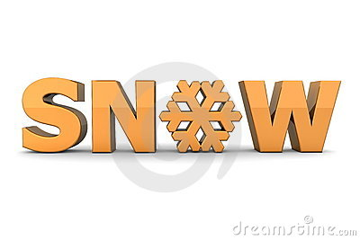 Word Snow With Snowflake - Orange