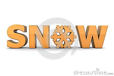 Word Snow With Snowflake - Orange