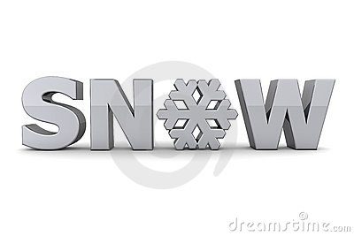 Word Snow With Snowflake - Silver-Grey