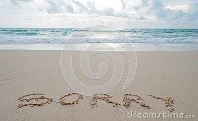 The Word sorry Written in the Sand on a Beach .