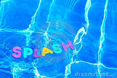 Word SPLASH floating in a swimming pool