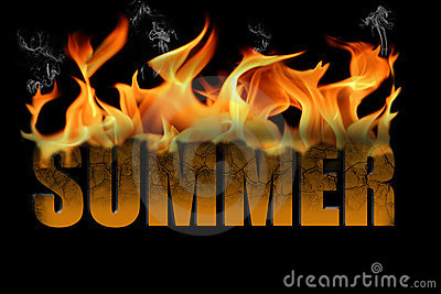 Word Summer in Fire Text