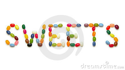 Word SWEETS made of jelly beans on white