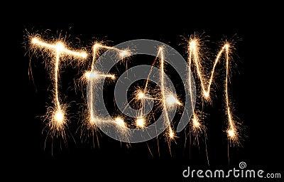 Word team written sparkler