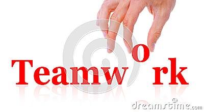 Word teamwork and hand