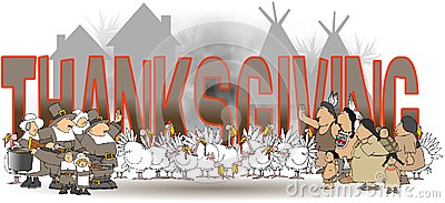 The word Thanksgiving with native Americans and Pilgrims Stock Photo
