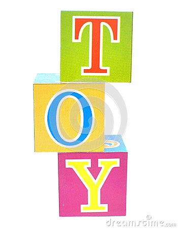 Word toy spelled out in baby blocks