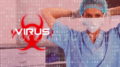 Word Virus written over health hazard sign with Covid-19 spreading over a doctor with a face mask. Animation of red health hazard sign with a sign Virus written stock video