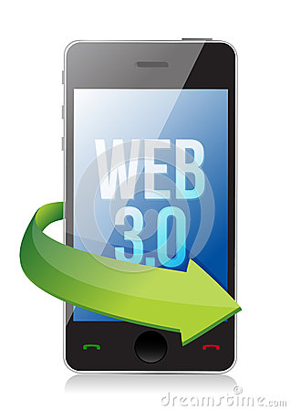 Word Web 3.0 on a cell phone, seo concept