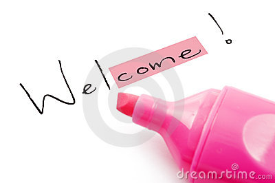 The word welcome highlighted in pink
