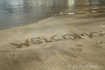 Word welcome written