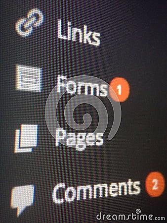 Wordpress dashboard Editorial Stock Image
