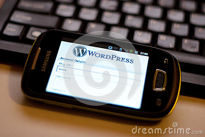 WordPress mobile app Editorial Stock Image