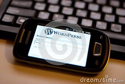 WordPress mobile app Editorial Stock Image