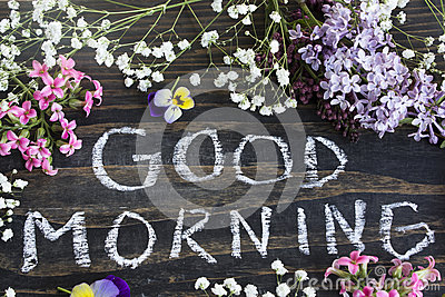 Words Good Morning With Spring Flowers Stock Image Cartoondealer