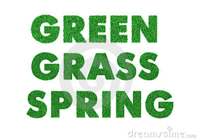 Words green, grass, spring