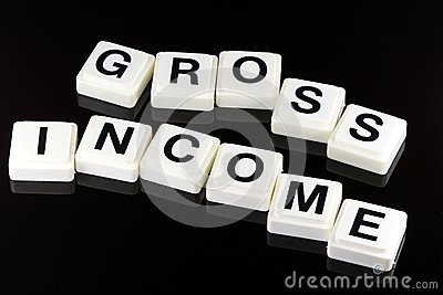 The Words Gross Income - A Term Used For Business in Finance and Stock Market Trading