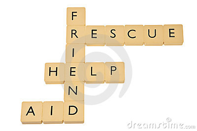 Words help, rescue, friend and aid.